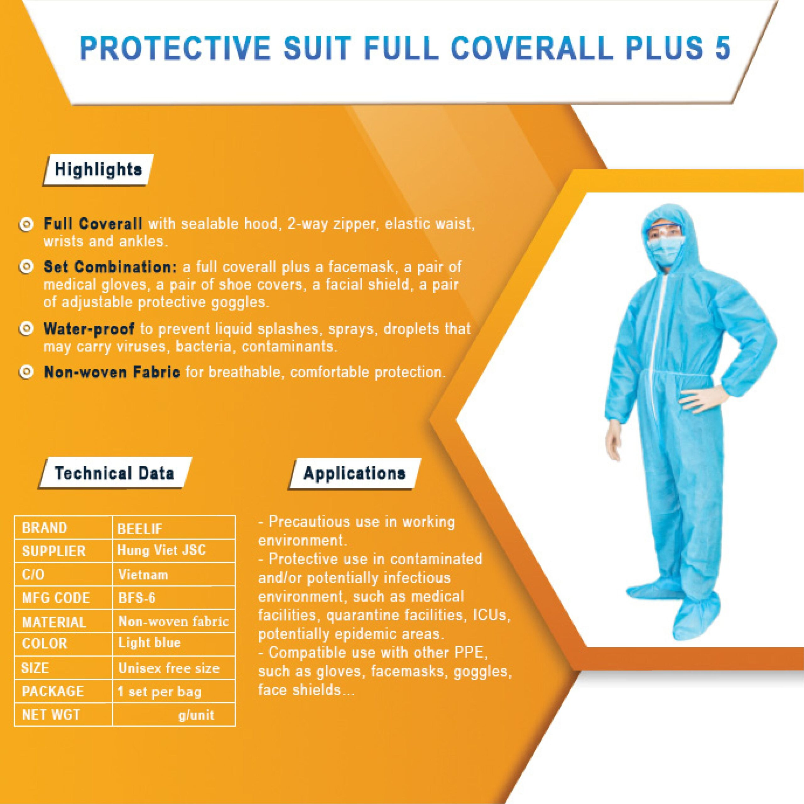 BeeActiv- Protective suit full coverall & shoe covers